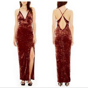 ASTR Stretch Velvet Slit Maxi Dress, NWT